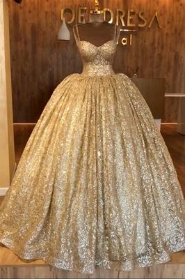 Spaghettiträger Gold Perlen Spitze Abendkleid | Luxus Ballkleid Princess Open Back Abendkleid_1