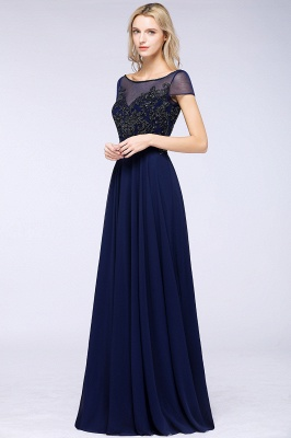 Elegant A-Line Short Sleeves Appliques Beads Bridesmaid Dresses_4