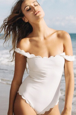 Vintage White Scoop One-piece Swimsuits