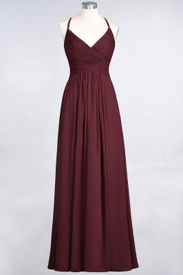 Chiffon A-Line Spaghetti-Straps V-Neck Sleeveless Long Bridesmaid Dress with Ruffles_10