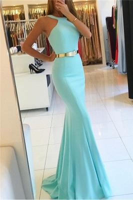 Mermaid New Arrival Halter Sleeveless Prom Dresses With Sash_1