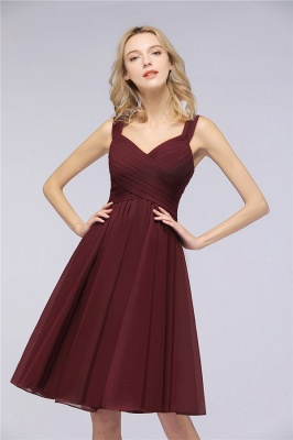 Elegant Ruffles Straps Sleeveless Short Bridesmaid Dresses_1