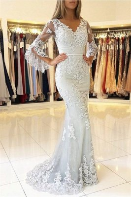 Classic V-Neck Bell Sleeves Prom Dresses | Lace Appliques Mermaid Evening Dresses_1