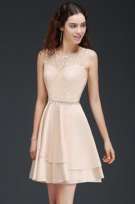 Newest Short Pink Lace Beads Open Back Bridesmaid Dresses