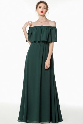 Long Simple Off The Shoulder A-Line Bridesmaid Dresses Cheap