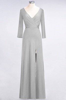 Spandex A-Line V-Neck Long-Sleeves Side-Slit Long Bridesmaid Dress with Ruffles_26