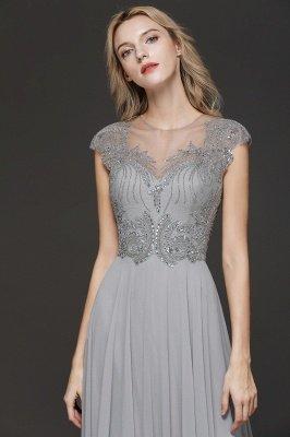 Crystal Appliques Sweetheart Side Slit Prom Dresses | Backless Capsleeves Evening Dresses_5