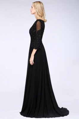 New Arrival Black 3/4 Sleeves Beads A-Line Appliques Bridesmaid Dresses_4