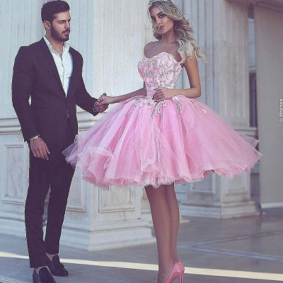 Розовое бальное платье с коротким рукавом и длинными рукавами_3