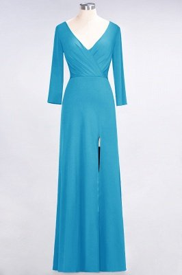Spandex A-Line V-Neck Long-Sleeves Side-Slit Long Bridesmaid Dress with Ruffles_22