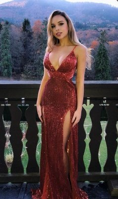Mermaid Glamorous Sequins Spaghetti-Straps V-Neck Side-Slit Prom Dresses_1