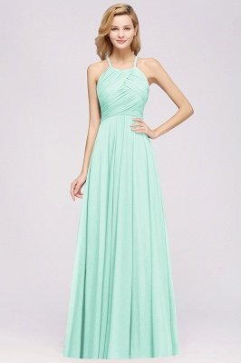 A-Line Chiffon Halter Ruffles Floor-Length Bridesmaid Dress_34