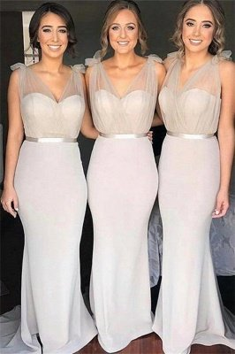 V-neck Sheer Tulle Sexy Bridesmaid Dresses | Sheath Sleeveless Maid Of Honor Dress_3