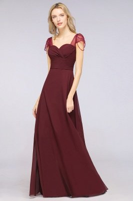 A-ligne en mousseline de soie sweetheart capuchon manches robe de demoiselle d'honneur longue au sol_4