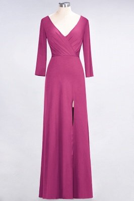 Spandex A-Line V-Neck Long-Sleeves Side-Slit Long Bridesmaid Dress with Ruffles_8