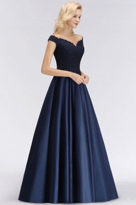Elegant Off-the-Shoulder Ruffles Beads Sleeveless Bridesmaid Dresses_6