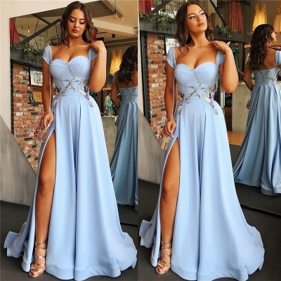 Cap Sleeves Open Back Blue Evening Dress | Sexy Side Slit Appliques Prom Dresses Online_4