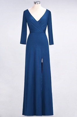 Spandex A-Line V-Neck Long-Sleeves Side-Slit Long Bridesmaid Dress with Ruffles_23