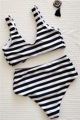 Rayures style vintage deux pièces scoop maillots de bain costumes_7