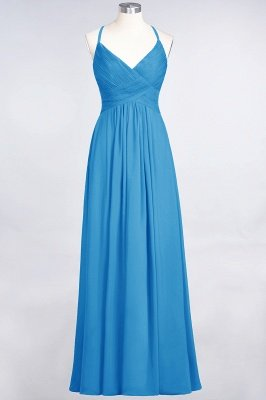 Chiffon A-Line Spaghetti-Straps V-Neck Sleeveless Long Bridesmaid Dress with Ruffles_24