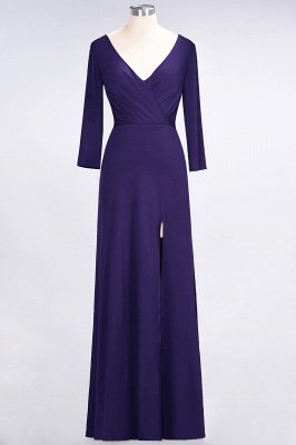 Spandex A-Line V-Neck Long-Sleeves Side-Slit Long Bridesmaid Dress with Ruffles_17