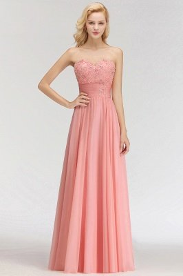 Sexy Sweetheart A-Line Appliques Long Bridesmaid Dresses Online_3
