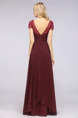 A-ligne en mousseline de soie sweetheart capuchon manches robe de demoiselle d'honneur longue au sol_3