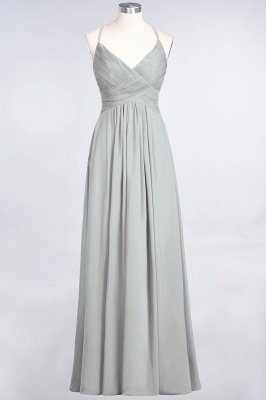 Chiffon A-Line Spaghetti-Straps V-Neck Sleeveless Long Bridesmaid Dress with Ruffles_29