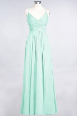Chiffon A-Line Spaghetti-Straps V-Neck Sleeveless Long Bridesmaid Dress with Ruffles_34