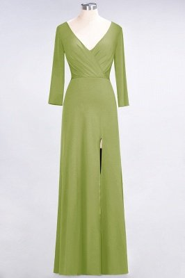 Spandex A-Line V-Neck Long-Sleeves Side-Slit Long Bridesmaid Dress with Ruffles_29