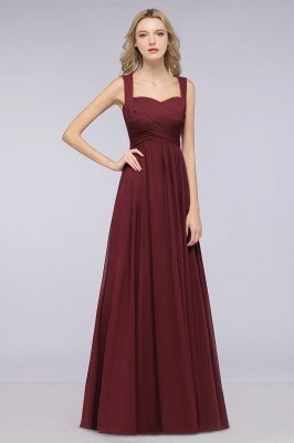 Burgundy Simple Cap Sleeves Tiered Sweetheart Bridesmaid Dresses