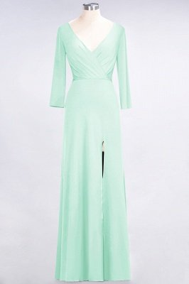 Spandex A-Line V-Neck Long-Sleeves Side-Slit Long Bridesmaid Dress with Ruffles_30