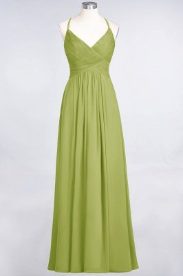Chiffon A-Line Spaghetti-Straps V-Neck Sleeveless Long Bridesmaid Dress with Ruffles_32