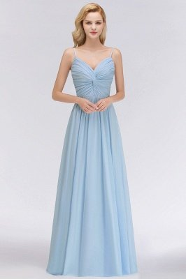 Cheap Spaghetti Straps A-Line Chiffon V-Neck Floor-Length Bridesmaid Dresses