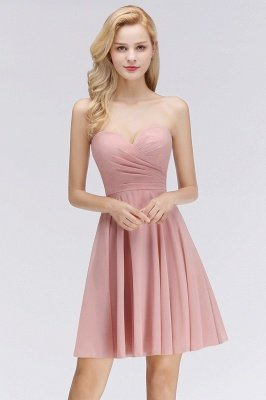 Simple Pink Short Sweetheart Cheap Bridesmaid Dresses