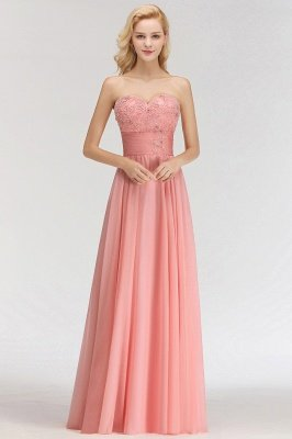 Sexy Sweetheart A-Line Appliques Long Bridesmaid Dresses Online