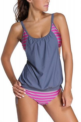 Streaks One-piece Side-cut Scoop Spaghetti Swimsuits