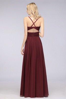 Chiffon A-Line Spaghetti-Straps V-Neck Sleeveless Long Bridesmaid Dress with Ruffles_36