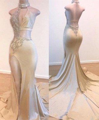 Robes de bal fendues de côté cristal halter | Une ligne dos nu sans manches robes de soirée