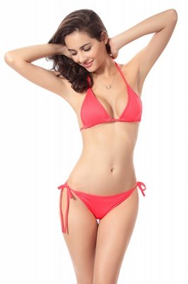 Simple Halter Triangle Pads Two-piece Bikini Sets