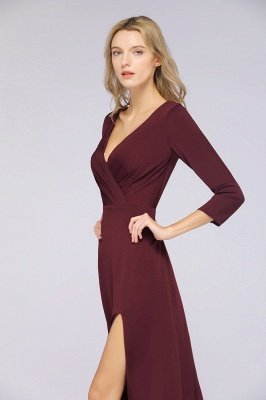Spandex A-Line V-Neck Long-Sleeves Side-Slit Long Bridesmaid Dress with Ruffles_35