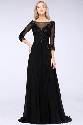 New Arrival Black 3/4 Sleeves Beads A-Line Appliques Bridesmaid Dresses_3