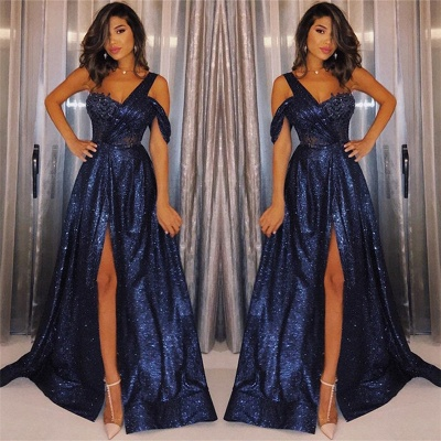 2019 Navy Blue One-Shoulder Sequins Prom Dresses | Sexy A-Line Side-Slit Evening Gowns_2