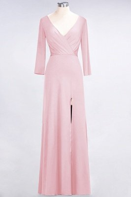 Spandex A-Line V-Neck Long-Sleeves Side-Slit Long Bridesmaid Dress with Ruffles_4