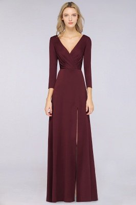 Spandex A-Line V-Neck Long-Sleeves Side-Slit Long Bridesmaid Dress with Ruffles_31