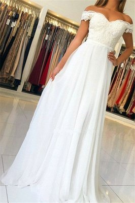A-Line Elegant Off-The-Shoulder Appliques Wedding Dresses