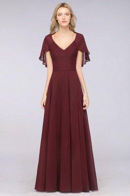 Chiffon Satin A-Line V-Neck short-sleeves Long Bridesmaid Dress_2