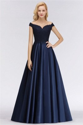 Elegant Off-the-Shoulder Ruffles Beads Sleeveless Bridesmaid Dresses_1