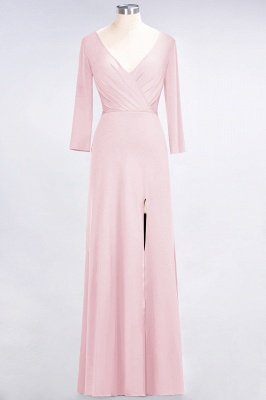 Spandex A-Line V-Neck Long-Sleeves Side-Slit Long Bridesmaid Dress with Ruffles_3