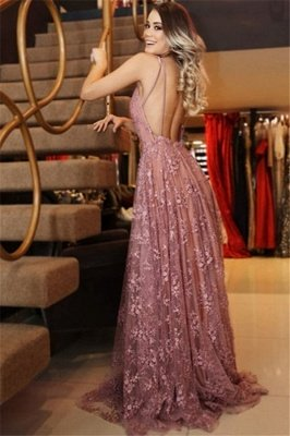 A-Line Sexy Spaghetti-Strpas Appliques Backless Prom Dresses_2